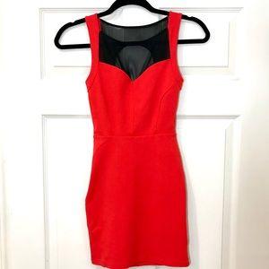 BEBE Red Sheer Mesh Mini Dress!